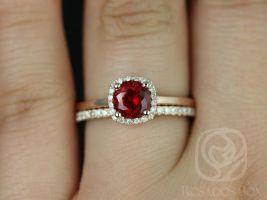 Rosados Box Bella 6mm 14kt Rose Gold Round Ruby and Diamond Cushion Halo Wedding Set