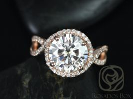 Rosados Box Kendra 10mm 14kt Rose Gold Round F1- Moissanite and Diamonds Halo Twist Engagement Ring