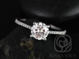 Rosados Box DIAMOND FREE Eloise 6.5mm 14kt White Gold Round F1 Moissanite and White Sapphires Cathedral Engagement Ring