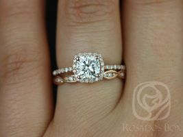 Rosados Box Randi 6mm & Ember 14kt Rose Gold Cushion F1- Moissanite and Diamond Halo Wedding Set