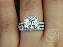 Rosados Box Randi 9mm & Christie 14kt White Gold Cushion F1- Moissanite and Diamonds Halo TRIO Wedding Set
