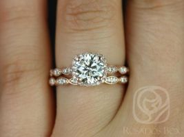 Rosados Box Christie 7mm 14kt Rose Gold Round F1- Moissanite and Diamond Halo WITH Milgrain Wedding Set