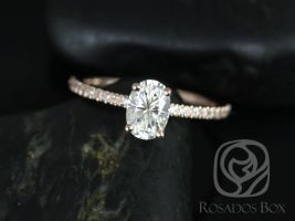 Rosados Box Darcy 7x5mm 14kt Rose Gold Oval F1- Moissanite and Diamonds Classic Engagement Ring
