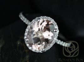 Rosados Box Jessica 10x8mm 14kt White Gold Oval Morganite and Diamonds Halo Engagement Ring