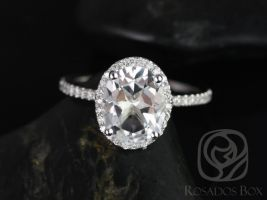 Rosados Box Jessica 10x8mm 14kt White Gold Oval White Topaz and Diamonds Halo Engagement Ring