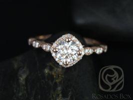 Rosados Box Katya 6mm 14kt Rose Gold Round F1- Moissanite and Diamonds Kite Halo WITHOUT Milgrain Engagement Ring
