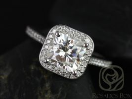 Rosados Box Hollie 7.5mm 14kt White Gold Cushion F1- Moissanite and Diamonds Halo Engagement Ring
