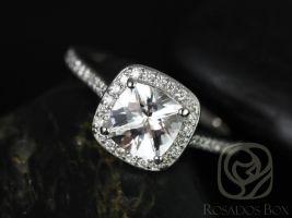 Rosados Box Hollie 7mm 14kt White Gold Cushion White Topaz and Diamonds Halo Engagement Ring