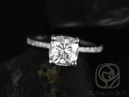Rosados Box Heidi 7mm 14kt White Gold Cushion F1- Moissanite and Diamond Basket Engagement Ring
