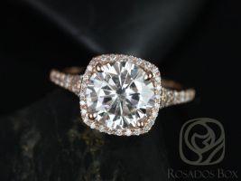 Rosados Box Giselle 9mm 14kt Rose Gold Round F1- Moissanite and Diamonds Halo Split Shank Engagement Ring