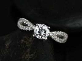 Rosados Box Karina 6mm 14kt White Gold Round Round F1- Moissanite and Diamonds Twist Engagement Ring