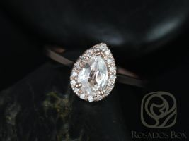 Rosados Box Julie 7x5mm 14kt Rose Gold Pear White Sapphire and Diamonds Halo Engagement Ring