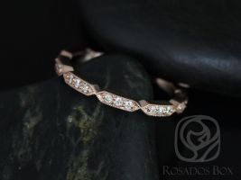 Rosados Box Stella 14kt Rose Gold Elongated Hexagon Diamonds WITH Milgrain ALMOST Eternity Band
