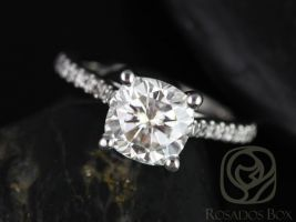Rosados Box Jenelle 7.5mm 14kt White Gold Cushion F1- Moissanite and Diamonds Cathedral Engagement Ring