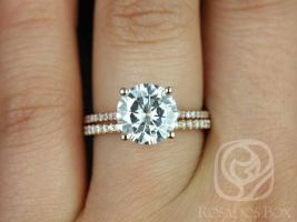 SALE Rosados Box Ready to Ship Eloise 10mm Size 14kt WHITE Gold Round FB Moissanite and Diamonds Cathedral Wedding Set