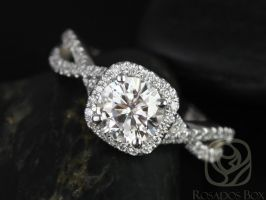 Rosados Box Josephine 7mm 14kt White Gold Round F1- Moissanite and Diamonds Twisted Cushion Halo Engagement Ring