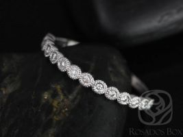 Rosados Box Ready to Ship Petite Bubbles 14kt YELLOW Gold WITH Milgrain Diamond HALFWAY Eternity Band