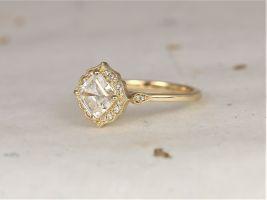 1.30ct Leena 6.5mm 14kt Solid Gold Forever One Moissanite Diamond Art Deco Asscher Kite Halo WITH Milgrain Engagement Ring,Rosados Box