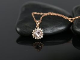 Ready to Ship14kt Rose Gold Round 5mm Morganite and Diamond Burst Halo Pendant Necklace