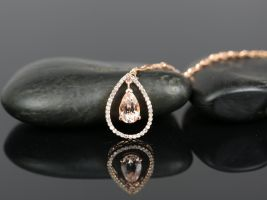 Ready to Ship 14kt Rose Gold Pear 8x5mm Morganite and Diamonds Dangle Floating Pendant Necklace