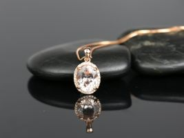 Ready to Ship 14kt Rose Gold Oval 10x8mm Morganite and Diamonds Halo Pendant Necklace