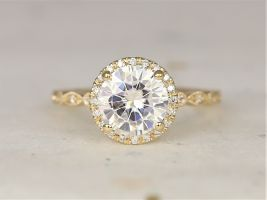 2ct Georgia 8mm 14kt Solid Gold Forever One Moissanite Diamonds Dainty Art Deco Round Halo WITH Milgrain Engagement Ring,Rosados Box