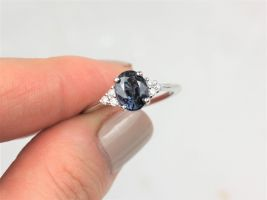 1.59cts Ready to Ship Juniper 14kt White Gold Rich Chrome Grey Purple Spinel Diamond Dainty Oval Cluster 3 Stone Ring,Rosados Box