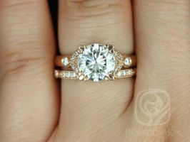 Rosados Box Antoinette 8.5mm & Stella 14kt Rose Gold Round Forever One Moissanite Diamonds Vintage Milgrain Wedding Set