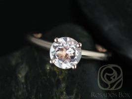 Rosados Box Alberta 7mm Rose Gold Round Morganite Tulip Solitaire Engagement Ring