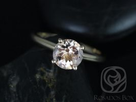 Rosados Box Alberta 7mm 14kt Yellow Gold Round Morganite Tulip Solitaire Engagement Ring