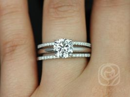 Rosados Box Alberta 7.5mm & Barra Dia 14kt White Gold Round Forever One Moissanite and Diamond Solitaire TRIO Wedding Set