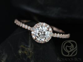 Rosados Box Amanda 5mm 14kt Rose Gold Round Moissanite and Diamonds Halo Engagement Ring