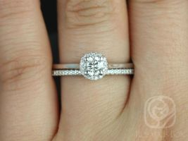 Rosados Box Amerie 4.5mm & Marcelle 14kt White Gold Round Halo F1- Moissanite and Diamond Wedding Set