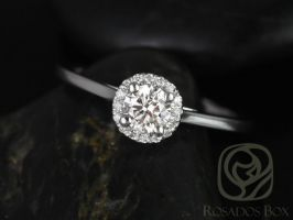 Rosados Box Amerie 4.5mm 1/3cts 14kt White Gold Round Diamond Halo Engagement Ring