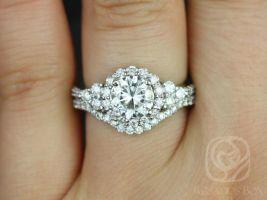 Rosados Box Amora 7mm 14kt White Gold Round Forever One Moissanite Diamond Cluster Halo 3 Stone Wedding Set