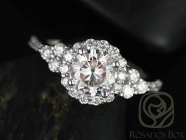 Rosados Box Amora 7mm 14kt White Gold Round Forever One Moissanite Diamonds Cluster Halo 3 Stone Engagement Ring