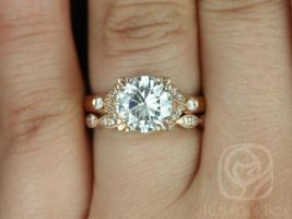 Rosados Box Antoinette 8.5mm & Christie 14kt Gold Round Forever One Moissanite Diamonds Vintage Milgrain Wedding Set