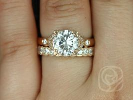 Rosados Box Antoinette 8.5mm & Cordelia 14kt Gold Round Forever One Moissanite Diamonds Vintage Milgrain Wedding Set