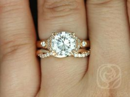 Rosados Box Antoinette 8.5mm & Dusty 14kt Gold Round Forever One Moissanite Diamonds Vintage Milgrain Wedding Set