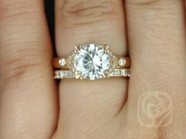 Rosados Box Antoinette 8.5mm & Gabriella 14kt Gold Round Forever One Moissanite Diamonds Vintage Milgrain Wedding Set