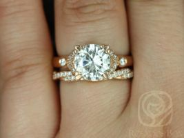 Rosados Box Antoinette 8.5mm & Twyla 14kt Gold Round Forever One Moissanite and Diamonds Vintage Milgrain Wedding Set