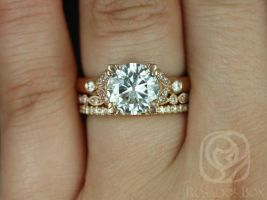 Rosados Box Antoinette 8.5mm, Gwen, & Catalina 14kt Round Forever One Moissanite Diamonds Vintage Milgrain TRIO Wedding Set