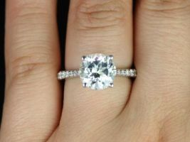 Rosados Box Taylor 9mm 14kt White Gold Round White Topaz and Diamond Cathedral Engagement Ring