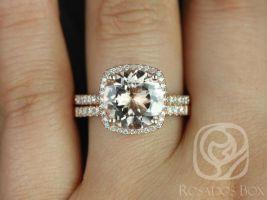Rosados Box Barra 10mm 14kt Rose Gold Round Morganite and Diamonds Cushion Halo Wedding Set