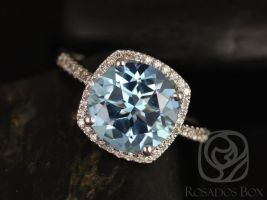 Rosados Box Barra 10mm 14kt White Gold Round Blue Topaz and Diamond Cushion Halo Engagement Ring