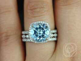 Rosados Box Barra 10mm & Christie 14kt White Gold Round Blue Topaz and Diamond Cushion Halo TRIO Wedding Set