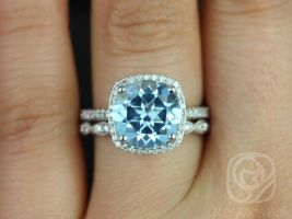Rosados Box Barra 10mm & Christie 14kt White Gold Round Blue Topaz and Diamond Cushion Halo Wedding Set