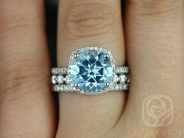 Rosados Box Barra 10mm & Medio Naomi 14kt White Gold Round Blue Topaz and Diamond Cushion Halo TRIO Wedding Set