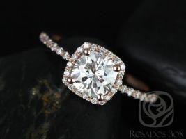 Rosados Box Randi 6mm 14kt Rose Gold Cushion F1- Moissanite and Diamonds Halo Engagement Ring