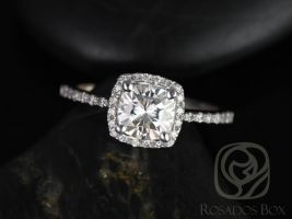 Rosados Box Randi 6mm 14kt White Gold Cushion F1- Moissanite and Diamonds Halo Engagement Ring